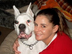 Photo of Theresa with her boxer