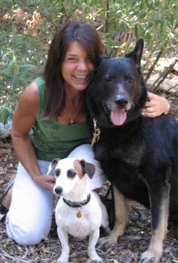 Photo of Carol Tilton with her two dogs